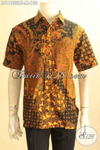 Jual Kemeja Batik Desain Terbaru Motif Tren Masa Kini, Pakaian Batik Solo Lengan Pendek Proses Kombinasi Tulis Yang Membuat Pria Terlihat Gagah Dan Tampan [LD11952BT-M]
