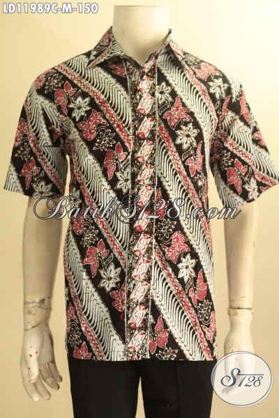 Baju Batik Parang Bunga, Hem Batik Lengan Pendek Nan Istimewa Warna Elegan  Desain Kekinian Proses Cap, Cowok Tampil Ganteng Maksimal [LD11989C-M]