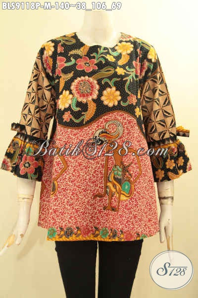 Blouse Batik Modern Motif Bagus Desain Elegan Tanpa Kerah, Baju Batik Wanita Masa Kini Lengan 3/4 Berpita Cocok Buat Ngantor Dan Jalan-Jalan [BLS9118P-M]