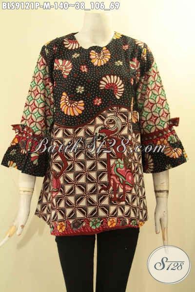 Blouse Batik Wanita Muda Bahan Halus Motif Elegan, Busana Batik Trendy Kekinian Lengan 3/4 Berpita Desain Tanpa Kerah Tampil Cantik Mempesona [BLS9121P-M]