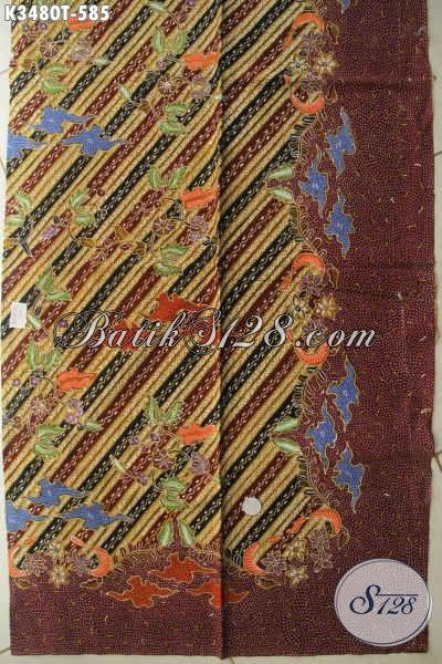 Produk Terbaru Kain Batik Solo Tulis Asli Bahan Kemeja Lengan Panjang, Batik Kain Istimewa Motif Elegan Cocok Juga Untuk Busana Wanita Nan Berkelas [K3480T-240x110cm]