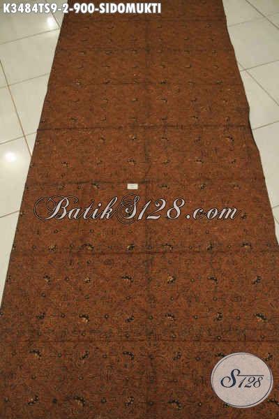 Kain Batik Premium Jenis Tulis Soga Bahan Jarik Motif Sidomukti, Batik Halus Nan Elegan Pas Untuk Acara Formal Dan Adat [K3484TS-240x110cm]