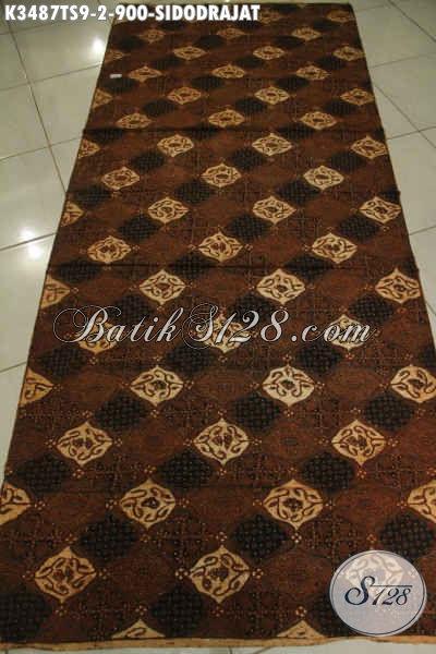 Kain Batik Klasik Khas Solo Halus Motif Sidodrajat, Batik Halus Mewah Jenis Tulis Soga Bahan Jarik Premium Hanya 900K [K3487TS-240x110cm]