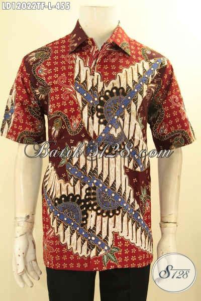 Kemeja Batik Pria Lengan Pendek Motif Elegan, Busana Batik Solo Jenis Tulis Bahan Halus Premium Yang Menunjang Penampilan Pria Lebih Sempurna [LD12022TF-L]