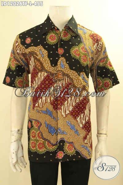 Kemeja Batik Kerja Pria Karir Lengan Pendek Pakai Furing, Busana Batik Tulis Motif Bagus Harga 400 Ribuan Saja, Cocok Juga Buat Kondangan [LD12026TF-L]