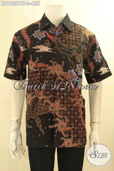 Jual Kemeja Batik Solo Lengan Pendek Istimewa, Pakaian Batik Modern Terbaru Jenis Tulis Desain Terkini, Pas Banget Untuk Ke Kantor Tampil Gagah [LD12027TF-L]