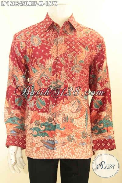 Kemeja Batik Premium Khas Pejabat, Busana Batik Tulis Sutra Nan Mewah Motif Baru Daleman Full Furing Yang Bikin Penampilan Gagah Berwibawa [LP12034SUATF-M]