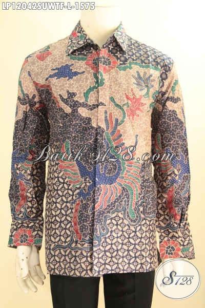 Kemeja Batik Tulis Premium Lengan Panjang Motif Mewah, Pakaian Batik Super Premium Khas Jawa Tengah Bahan Sutra Twise Yang Menunjang Penampilan Pria Sukses Lebih Gagah Dan Percaya Diri [LP12042SUWTF-L]