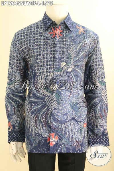 Busana Batik Tulis Sutra Nan Mewah, Kemeja Batik Super Premium Exclusive Untuk Pria Sukses Bahan Halus Model Lengan Panjang Full Furing, Tampil Gagah Menawan [LP12045SUWTF-L]