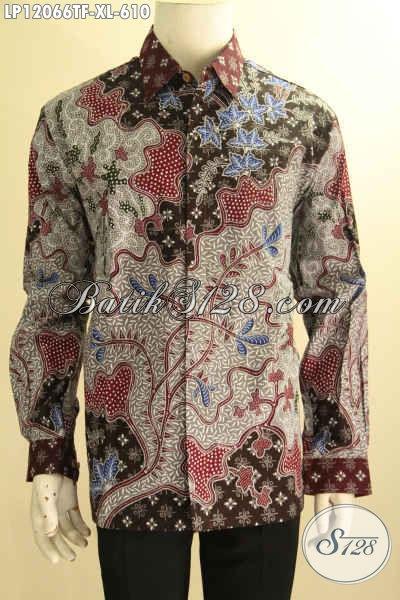 Kemeja Batik Pria Mewah Lengan Panjang Full Furing, Busana Batik Lelaki Dewasa Nan Mewah Jenis Tulis Motif Bagus Untuk Kerja Dan Acara Formal [LP12066TF-XL]