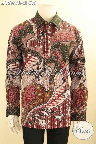 Busana Batik Pria Kantoran Model Lengan Panjang Jenis Tulis Asli, Baju Kemeja Batik Mewah Pakai Furing Yang Banya Di Sukai Pria Pejabat Dan Eksekutif [LP12069TF-XL]