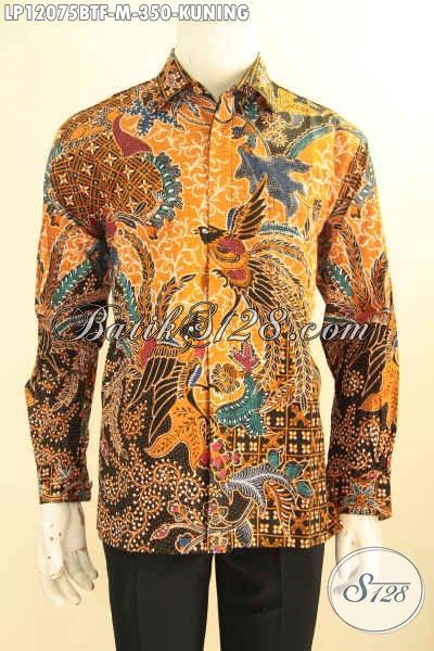 Kemeja Batik Pria Elegan Lengan Panjang Warna Kuning Motif Elegan Jenis Kombinasi Tulis, Pakaian Batik Solo Asli Full FuringTampil Mewah Dan Gagah [LP12075BTF-M]