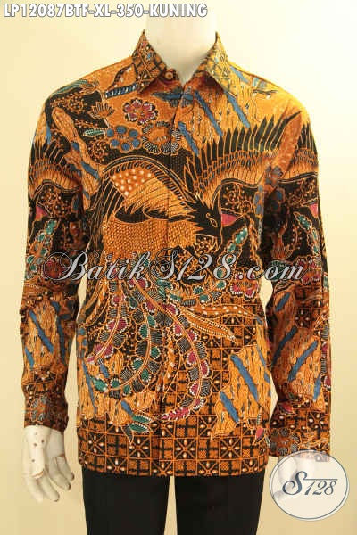 Produk Pakaian Batik Khas Solo Jawa Tengah Terkini, Kemeja Lengan Panjang Warna Kuning Jenis Batik Kombinasi Tulis Motif Elegan Daleman Full Furing, Tampil Gagah Mewah [LP12087BTF-XL]