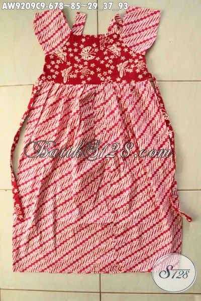 Batik Anak Perempuan Motif Parang Warna Merah Kombinasi Putih Desain Trendy Bahan Halus Nyaman Di Pakai [AW9209C-Umur 6,7,8 Umur]