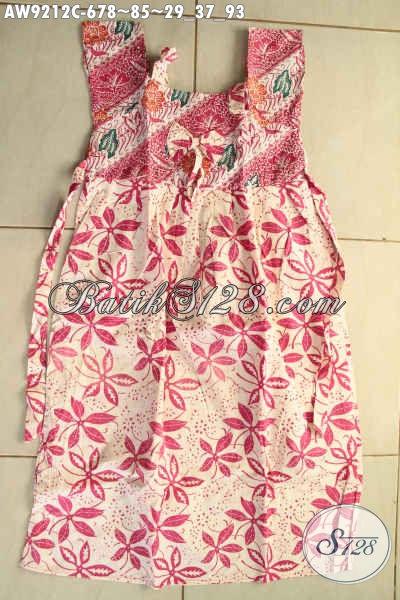 Jual Batik Anak Masa Kini, Busana Batik Trendy Kwalitas Bagus Desain Kekinian Motif Terkini Jenis Cap Spesial Untuk Anak Perempuan [AW9212C-Umur 6,7,8 Tahun]