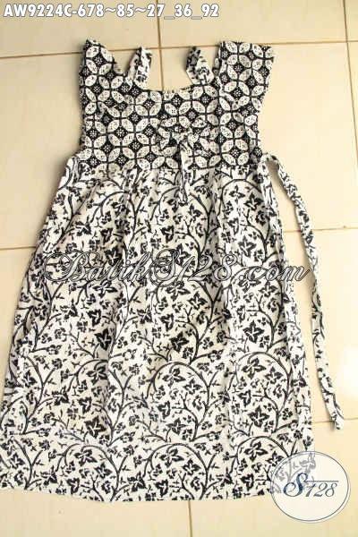 Model Baju Batik Anak Masa Kini, Busana Batik Anak Perempuan Nan Modis Bahan Halus Desain Kekinian Motif Baru Jenis Cap Hanya 85K [AW9224C-Umur 6,7,8 Tahun]