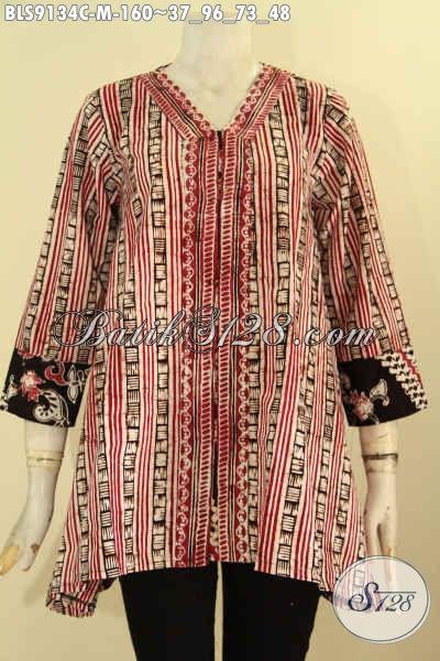 Blouse Batik Wanita Masa Kini, Pakaian Batik Model Trendy Motif Berkelas Warna Elegan, Cocok Buat Ngantor Dan Acara Resmi Tampil Berkelas [BLS9134C-M]