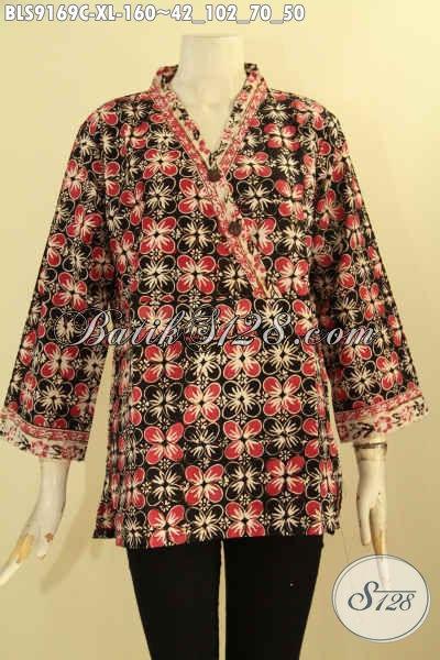 Sedia Busana Batik Wanita Modern Untuk Kerja Kantor Desain Bagus Dan Berkelas, Pakaian Batik Blouse Solo Modis Penampilan Lebih Mempesona, Cocok Juga Untuk Kondangan [BLS9169C-XL]