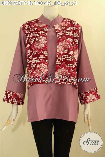 Pakaian Blouse Batik Solo Kombinasi Kain Polos Toyobo, Busana Batik Motif Terbaru Desain Modis Dan Berkelas Untuk Penampilan Cantik Menawan [BLS9174CTY-XL]
