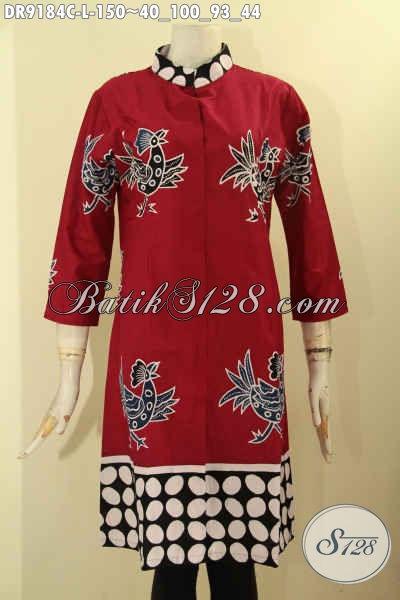 Pakaian Dress Batik Warna Merah Model Terbaru Untuk Tampil Cantik Dan Anggun, Bahan Halus Motif Unik Jenis Cap Penampilan Lebih Mempesona [DR9184C-L]