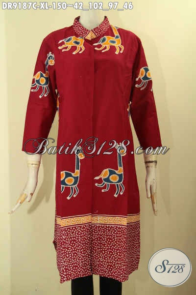 Sedia Baju Batik Dress Wanita Dewasa Desain Baru Warna Merah Motif Trendy Jenis Cap, Busana Batik Kekinian Menunjang Penampilan Lebih Stylish [DR9187C-XL]