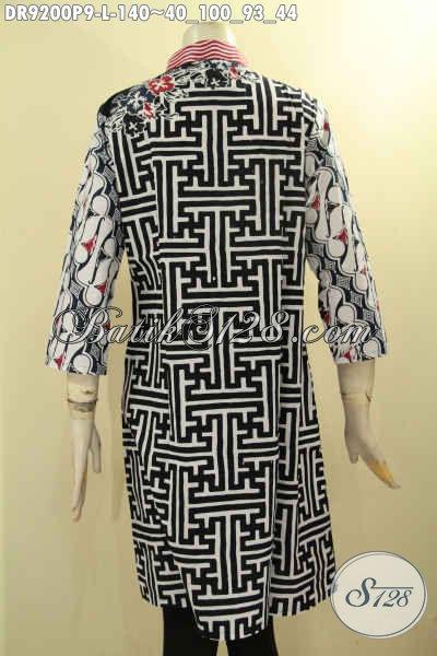 Dress Batik Trendy Dengan Kombinasi Motif Modern Klasik Nan Berkelas, Baju Batik Istimewa Yang Menunjang Penampilan Wanita Muda Dan Dewasa Lebih Sempurna [DR9200P-L]