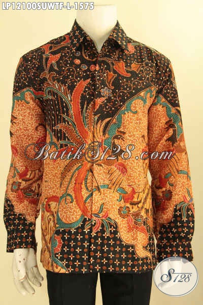 Kemeja Batik Solo Mewah Halus, Pakaian Batik Solo Terbaik Tulis Sutra Model Lengan Panjang Daleman Full Furing, Cocok Untuk Rapat Dan Acara Formal [LP12100SUWTF-L]