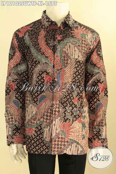 Baju Batik Pria Lengan Panjang Mewah Full Furing, Busana Batik Tulis Sutra Motif Elegan Khas Solo, Kemeja Batik Pria Sukses Untuk Penampilan Gagah Berwibawa [LP12102SUWTF-XL]