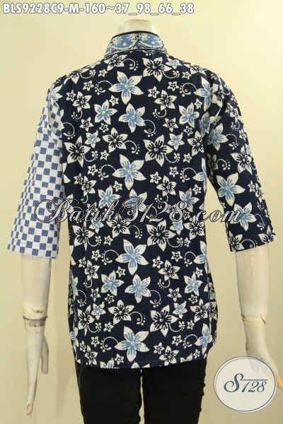 Blouse Batik Wanita Muda, Busana Batik Solo Istimewa Kombinasi Plesir Polos Kerah Shanghai Motif Bagus Jenis Cap, Tampil Cantik Dan Anggun [BLS9228C-M]