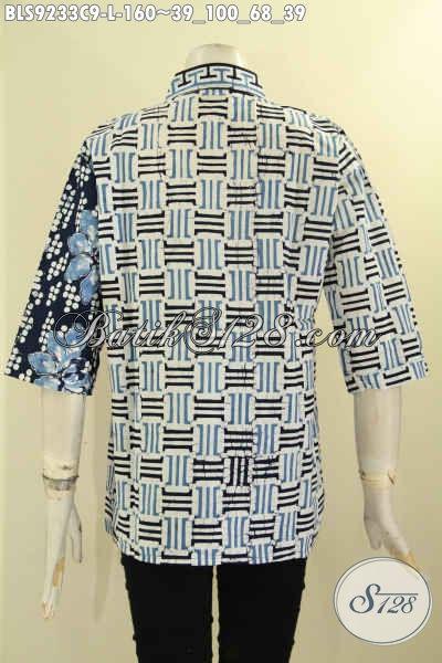 Koleksi Terbaru Blouse Batik Modern Kerah Shanghai Kancing Depan Lengan 3/4 Bepradu Plesir Polos Nan Berkelas, Wanita Tampil Cantik Anggun [BLS9233C-L]
