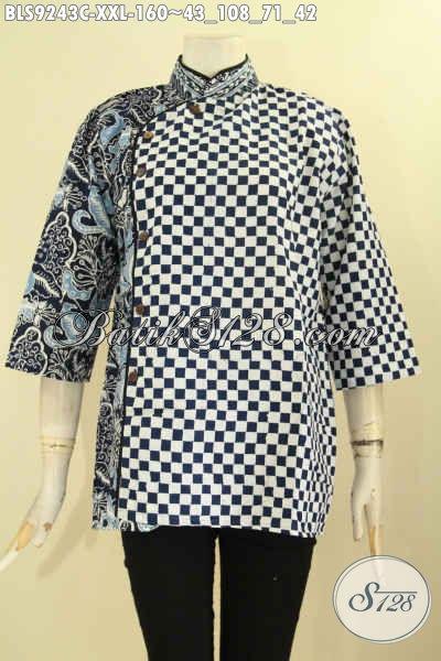 Baju Batik Kerja Wanita Gemuk Dual Motif Desain Kerah Shanghai Kombinasi Plesir Polos, Pilihan Tepat Tampil Cantik Dan Gaya [BLS9243C-XXL]
