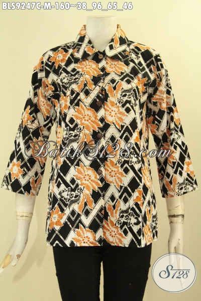 Blouse Batik Kerah Lancip Lengan 7/8 Pakai Kancing Depan Motif Terbaru Proses Cap, Cocok Untuk Seragam Kerja [BLS9247C-M]