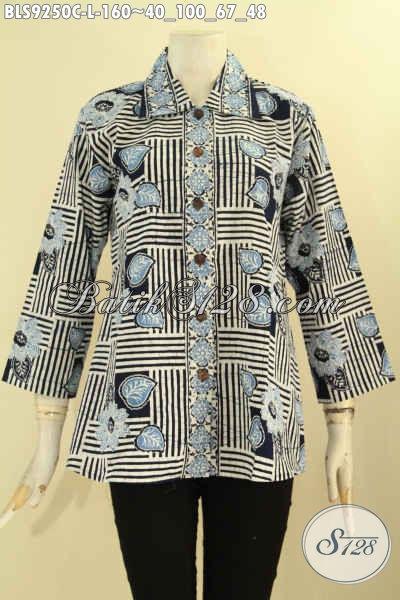 Baju Batik Wanita Motif Keren Proses Cap Model Lengan 7/8 Kerah Lancip Dan Di Lengkapi Kancing Depan, Penampilan Lebih Gaya Dan Berkelas [BLS9250C-L]