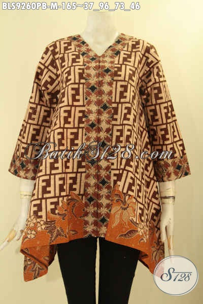 Batik Blouse Model A Dengan Kerah V  Berpadu Motif Kekinian Nan Berkelas, Pakaian Batik Wanita Muda Lengan 7/8 Kancing Depan Kombinasi 2 Motif Cocok Untuk Seragam Kerja Maupun Ke Acara Resmi [BLS9260PB-M]