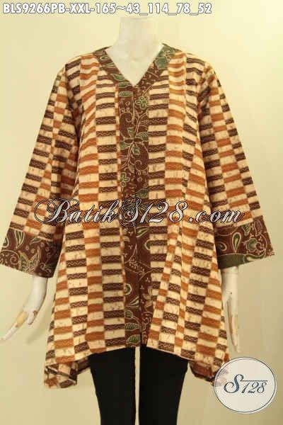 Batik Blouse Wanita Gemuk Tren Masa Kini Yang Modis Untuk Kerja Maupun Acara Resmi, Blouse Batik Solo Nan Berkelas Menunjang Penampilan Lebih Gaya Mempesona [BLS9266PB-XXL]