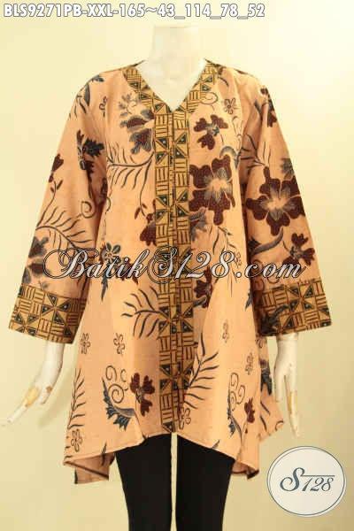Busana Batik Kerja Model A Kerah V, Pakaian Batik Modis Wanita Gemuk Kmbinasi 2 Motif Lengan 7/8 Kancing Depan, Pilihan Tepat Tampil Cantik Bergaya [BLS9271PB-XXL]