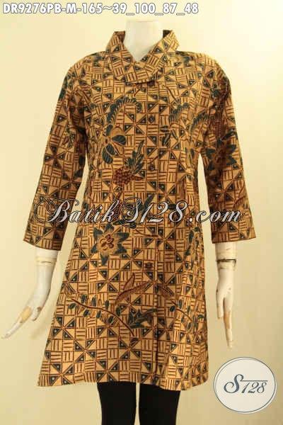 Busana Batik Wanita Nan Elegan Model Kerah Miring Motif Bagus Jenis Printing Cabut, Dress Batik Solo Istimewa Kancing Depan Lengan 7/8, Tampil Cantik Dan Gaya [DR9276PB-M]
