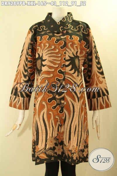 Model Baju Batik Wanita Masa Kini, Dress Batik Solo Nan Istimewa Exclusive Perempuan Gemuk Model Tren Masa Kini Menunjang Penampilan Lebih Berkelas Dan Elegan [DR9289PB-XXL]