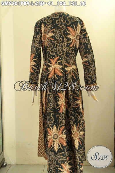 Gamis Batik Solo Nan Istimewa Desain Terbaru Nan Mewah, Pakaian Batik Gamis Kekinian Kombinasi 2 Motif Untuk Penampilan Cantik Menawan [GM9301PB-L]