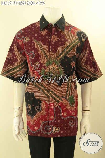 Baju Batik Pria Big Size Model Lengan Pendek, Pakaian Kemeja Batik Tulis Lasem Mewah Dengan Lapisan Furing, Pilihan Terbaik Untuk Cowok Gemuk Tampil Gagah Dan Tampan [LD12137TSF-XXL]