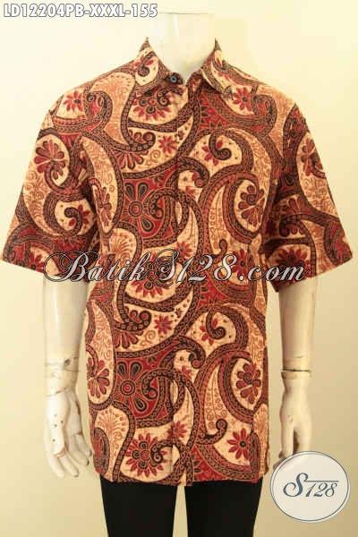 Baju Batik Pria Gemuk Model Lengan Pendek, Pakaian Batik Solo Asli Motif Kekinian Jenis Printing Cabut Warna Elegan, Pilihan Tepat Untuk Kerja Tampil Berkelas [LD12204PB-XXXL]