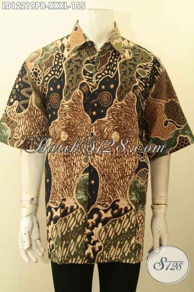 Baju Batik Cowok Gemuk Nan Keren Motif Elegan, Pakaian Batik Halus Proses Printing Cabut, Menunjang Penampilan Lebih Gagah Dan Tampan [LD12219PB-XXXL]