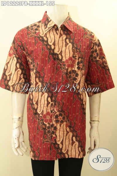 Kemeja Batik Pria Lengan Pendek Motif Klasik Big Size, Baju Batik Exclusive Pria Gemuk Sekali Jenis Printing Cabut Warna Elegan, Pas Untuk Kondangan [LD12223PB-XXXXL]