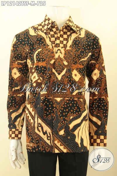 Baju Batik Pria Lengan Panjang Mewah, Kemeja Batik Solo Asli Tulis Soga Motif Bagus Daleman Full Furing, Istimewa Untuk Acara Resmi Dan Rapat [LP12142TSF-M]