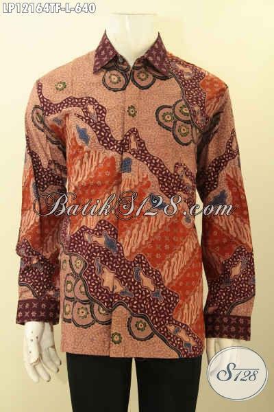 Kemeja Batik Tulis Lasem Motif Mewah Di Lengkapi Dengan Lapisan Furing, Busana Batik Lengan Panjang Premium Yang Membuat Penampilan Pria Terlihat Gagah Menawan [LP12164TF-L]