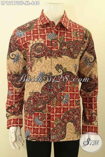 Sedia Kemeja Batik Pria Mewah Motif Elegan, Baju Batik Jenis Tulis Lasem Lengan Panjang Full Furing Yang Bikin Para Pria Tampil Gagah Berwibawa [LP12170TF-XL]
