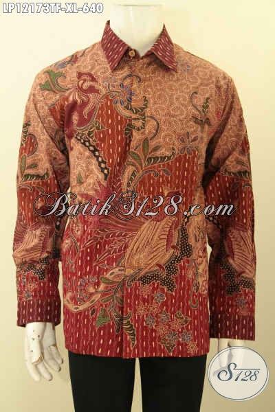 Baju Batik Premium Lengan Panjang Motif Elegan Daleman Full Furing Jenis Tulis Lasem, Pakaian Batik Khas Pejabat Untuk Kerja Maupun Acara Resmi Tampil Lebih Sempurna [LP12173TF-XL]