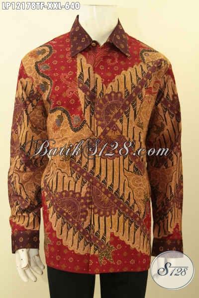 Baju Batik Big Size Mewah Jenis Tulis Lasem, Busana Batik Motif Elegan Model Lengan Panjang Pakai Furing Pilihan Terbaik Untuk Pria Gemuk Tampil Tampan Maksimal [LP12178TF-XXL]