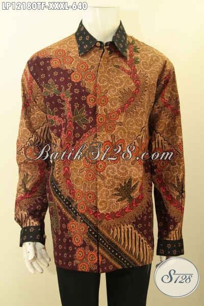 Kemeja Batik Pria Gemuk Limited Edition, Pakaian Batik Premium Lengan Panjang Pakai Furing, Busana Batik Jenis Tulis Lasem Motif Mewah Cocok Untuk Acara Resmi Dan Kondangan [LP12180TF-XXXL]