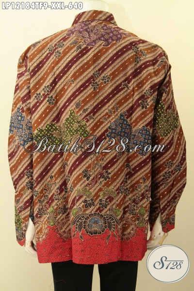 Koleksi Terbaru Baju Batik Lengan Panjang Exclusive Untuk Pria Gemuk, Hadir Dengan Motif Mewah Jenis Tulis Lasem Pakai Furing, Penampilan Lebih Gagah Menawan [LP12184TF-XXL]